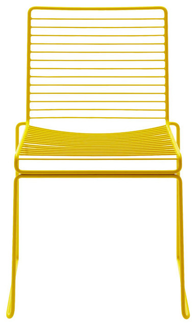 Stackable Hee Dining Chair, Yellow contemporary-outdoor-dining-chairs