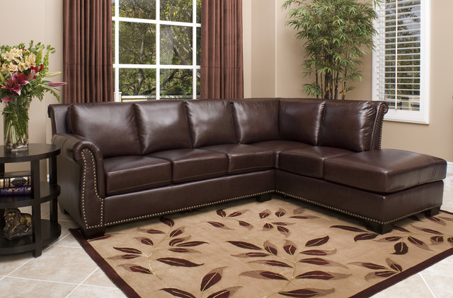 Abbyson Living Glendale Premium Top-grain Leather Sectional Sofa contemporary-sectional-sofas