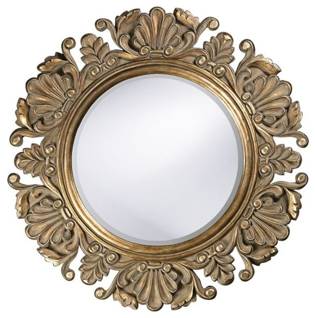 Nita Ornate Round Mirror Traditional Wall Mirrors By