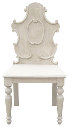 Carved Chair Vintage Grey eclectic chairs