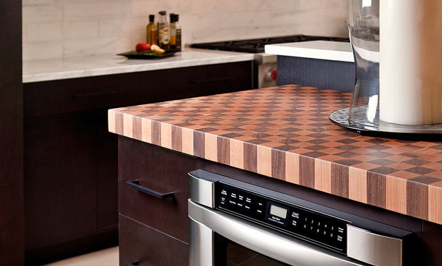 Cherry and Walnut Butcherblock Countertop by Grothouse contemporary-kitchen-countertops