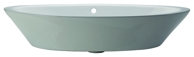 Decolav 1463-CWH Classically Redefined Oval Above Counter Bathroom Sink in White contemporary-bathroom-sinks