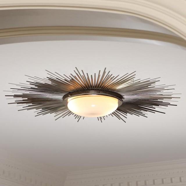 Global Views Sunburst Light Fixture-Nickel traditional-ceiling-lighting