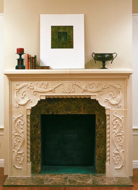 carved brentwood cast stone fireplace mantel traditional