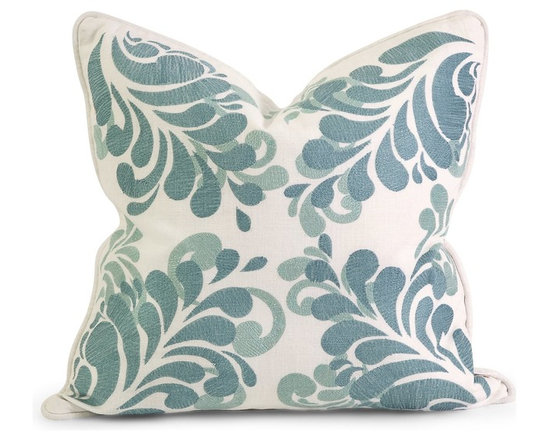 iMax - iMax IK Namid Embroidered Pillow w/ Down Fill X-68124 - Iffat Khan has developed a luxurious collection of down pillows with embroidered details and top of the line fabrics. Iffat's refined aesthetic is evident in her collection which combines clean modern, classic casual and timeless traditional styles with her own creative twist.