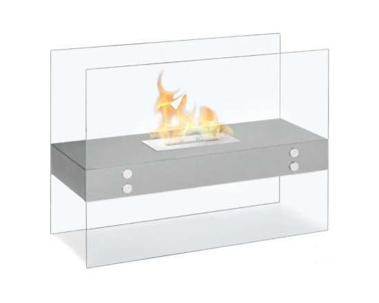 Moda Flame - Avila Contemporary  Indoor Outdoor Ethanol Fireplace - Stainless Steel - The Avila modern fireplace is comprised of a steel shelf, sitting comfortably on two vertically mounted glass walls. Perfect for any indoor or outdoor setting.