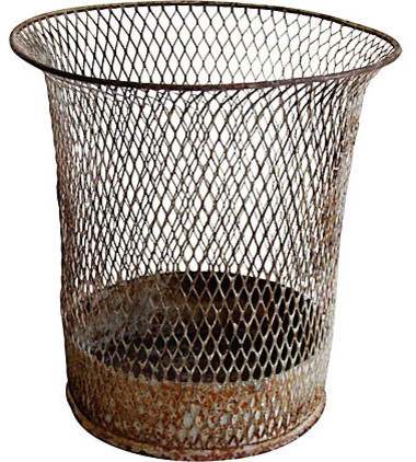 Wire school house waste basket modern wastebaskets new york by second shout out - Modern wastebasket ...