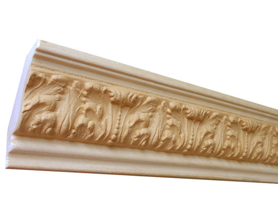 "Inviting Home - Houston Crown Molding - wood crown molding 2-1/4""H x 1-3/4""P x 2-3/4""F x 8'00""L sold in 8 foot length (3 piece minimum required) Outstanding quality crown molding profile milled from high grade kiln dried solid poplar hardwood. High relief ornamental design crafted using fine grade stainable composition material. Crown molding sold unfinished and can be easily stained painted or glazed. The installation of the wood crown molding should be treated the same manner as you would treat any wood molding: all molding should be kept in a clean and dry environment away from excessive moisture. Acclimate wooden moldings for 5-7 days. When installing wood crown moldings it is recommended to nail molding securely to studs and glue all mitered corners for maximum support."