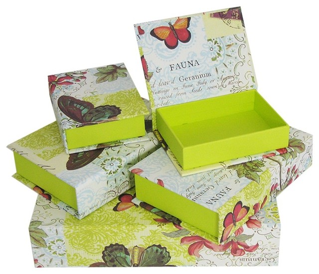 Decorative Boxes For Closets : Decorative box set flora fauna butterfly traditional