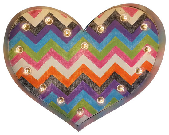 Chevron Funky Marquee Heart - This sweet funky chevron pattern heart will brighten up any room in your home! So much fun for a child's bedroom or playroom!