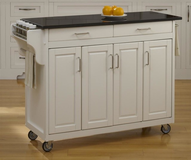 48.75 in. Cart with Black Granite Top (Black) contemporary-kitchen-islands-and-kitchen-carts