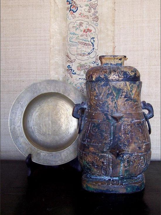 "Chinese Hu -Wine Vessel Replica - A  Cast Iron Replica of an Ancient Chinese ""Hu"" Wine Vessel from the Western Zhou Dynasty, circa 1100-771 BC."