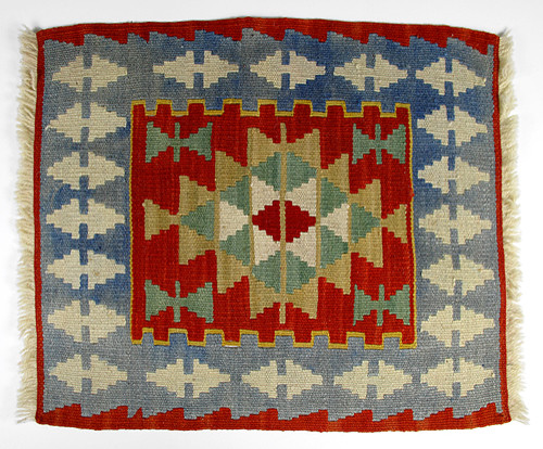 Mini turkish kilim rug with anatolian patterns blue and for Kilim designs