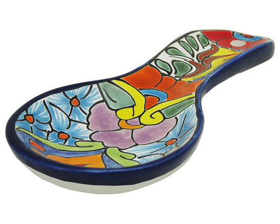 Talavera Home Accessories - Never make a mess on your kitchen counter again! These Talavera spoon rests are 100% lead free and won't easily chip or crack. Made in Mexico by hand, authentic Talavera makes a beautiful addition to any kitchen. Includes a large eyelet for easy hanging.