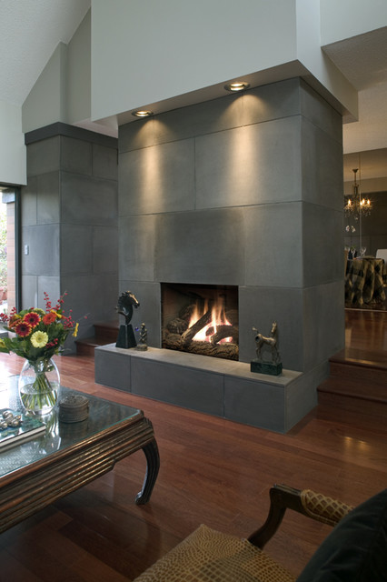 Concrete Fireplace Tiles contemporary