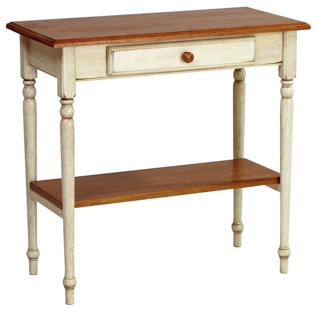 Nantucket Storage Bench Cottage Style Solid Wood 15: Cottage Style 2-Tone Finish Foyer Table W She