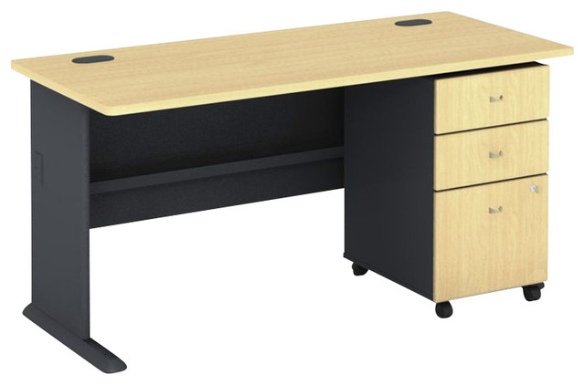 "Bush Series A 60"" Wood puter Desk with 3 Drawer File"