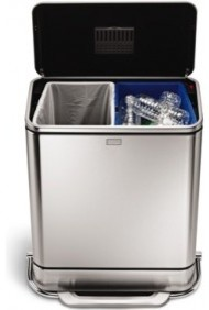 55L Steel Bar Step Trash Can and Recycler contemporary-kitchen-trash-cans