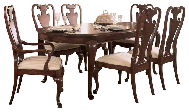 american drew cherry grove 8 piece leg dining room set in