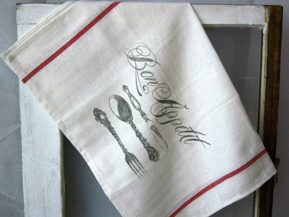 Vintage French Grain Sack Inspired Bon Appetit Kitchen Towel By BBlaeser traditional-dish-towels