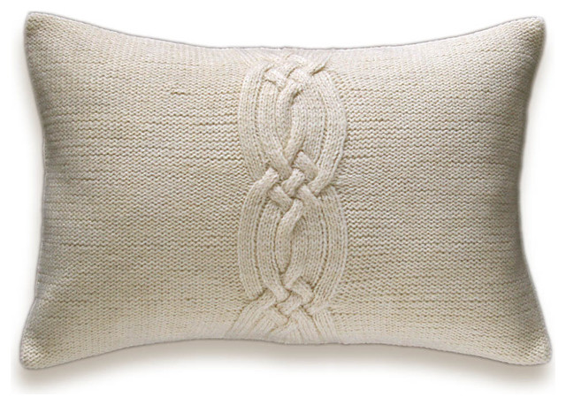 Decorative Pillow Cover 12x18 : Decorative Cable Knit Pillow Cover In Ivory 12x18 inch Lumbar Cushion