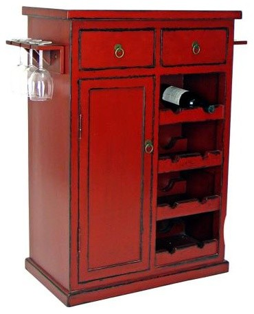 Hand-Painted Red Finish Solid Birch Wine Cabinet asian-wine-and-bar-cabinets