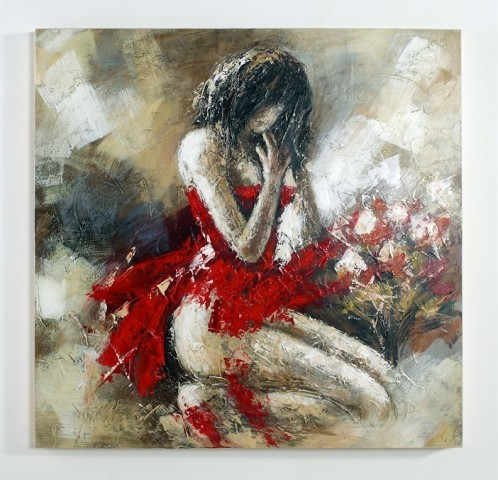 Encore in red oil painting acrylic painting modern for Acrylic art images