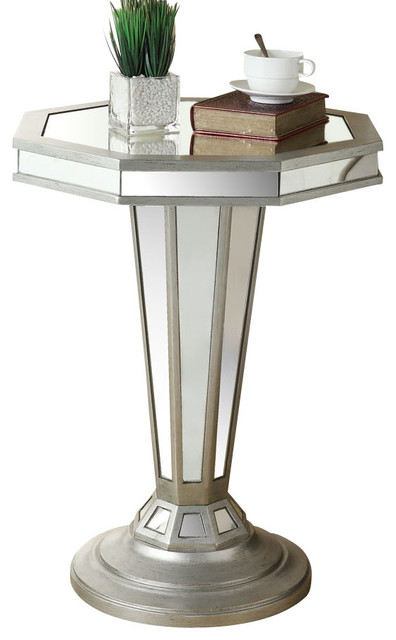 Monarch Specialties 22 Inch Octagon Mirrored Accent Table in Silver, Light Wood modern-side-tables-and-end-tables