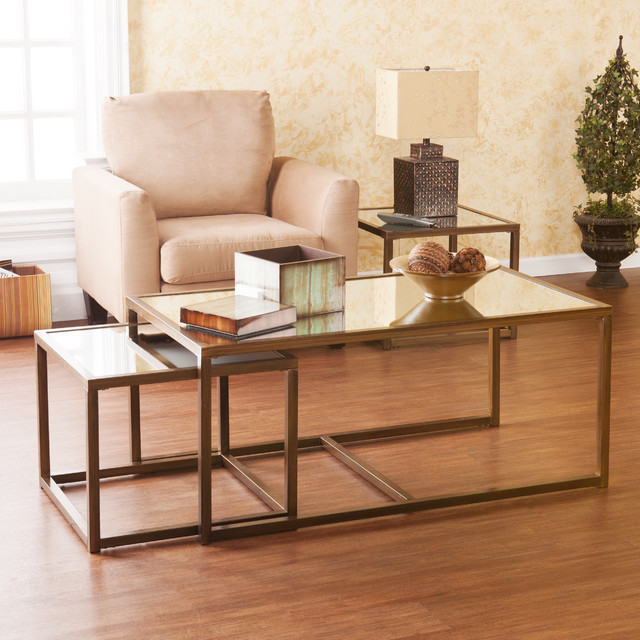 Upton Home Morganton Nesting Coffee End Table 3pc Set Contemporary Coffee Tables