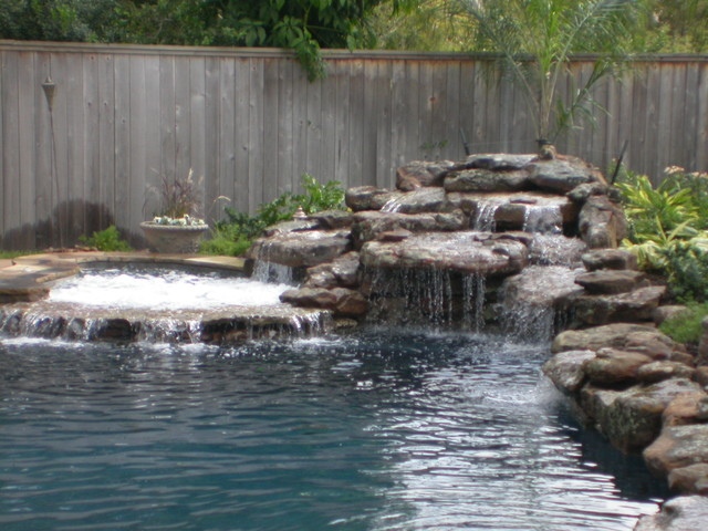 Rogers custom swimming pool spa waterfall design for Pool design waterfall