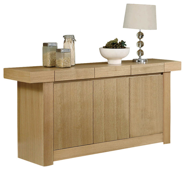 Monarch Specialties I 1796 Natural Oak Veneer 67 Inch Server contemporary-buffets-and-sideboards