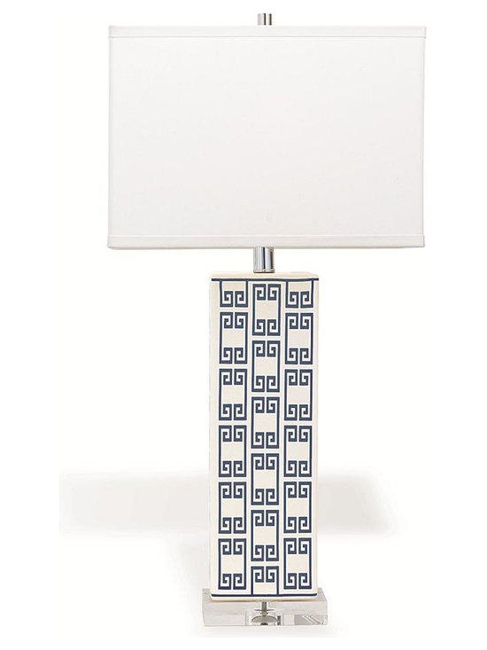 Mizner Key Navy Table Lamp - The rectangular, white table lamp is covered a contemporary navy blue Greek key pattern. It rests on a clear acrylic base, and is topped with a white cotton linen shade that echoes and balances the lamp body below.