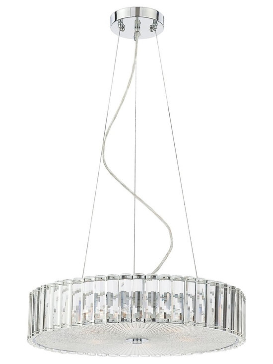 "Possini Euro Design - Modern Clear Glass Fluted 18 3/4"" Wide Chandelier - Brighten a seating or dining area with modern style with this striking chandelier design. Six fixtures glow brightly within this slim design that's fluted with a trim of sparkling clear glass. A frosted diffuser at the bottom ensures even lighting. Canopy and hardware comes in a chrome finish. A stunning look that's sure to enhance your decor. By Possini Euro Design lighting. Clear glass trim. Chrome finish. Frosted diffuser. Takes six 40 watt bulbs (not included). 18 3/4"" wide. 4 1/2"" high. Includes 10 feet of cable and wire. 5"" wide canopy. Comes with 17"" glass diffuser. Hang weight is 13.66 pounds.  Clear glass trim.   Chrome finish.   Frosted diffuser.   By Possini Euro Design lighting.  Takes six 40 watt bulbs (not included).   18 3/4"" wide.   4 1/2"" high.  Includes 10 feet of cable and wire.   5"" wide canopy.   Hang weight is 13.66 pounds."