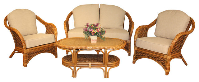 Bahamas Seagrass Rattan Set of 4 tropical-dining-sets
