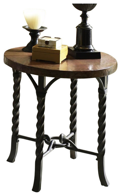 Riverside Furniture Medley Round Lamp Table in Camden / Wildwood Taupe industrial-side-tables-and-end-tables