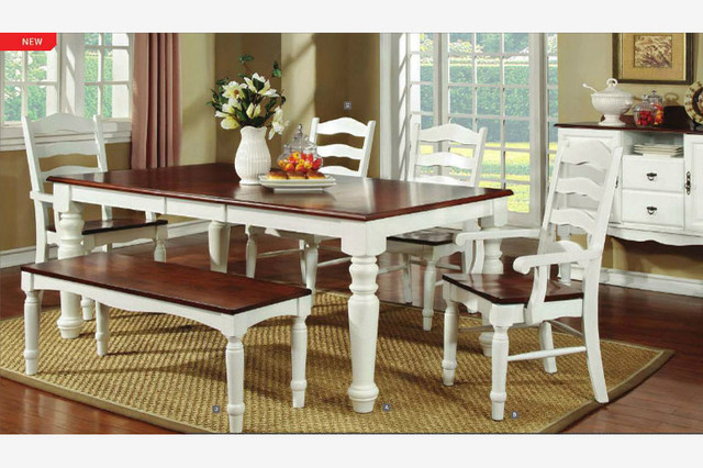 pc country cherry white wood dining set 18 leaf table chairs