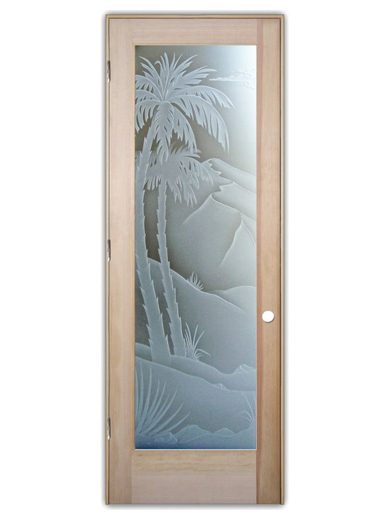 """Sans Soucie Art Glass (door frame material T.M. Cobb) - Interior Glass Door Sans Soucie Art Glass Desert Palms 3D Private - Sans Soucie Art Glass Interior Door with Sandblast Etched Glass Design. GET THE PRIVACY YOU NEED WITHOUT BLOCKING LIGHT, thru beautiful works of etched glass art by Sans Soucie!  THIS GLASS PROVIDES 100% OBSCURITY.  (Photo is View from OUTside the room.)  Door material will be unfinished, ready for paint or stain.  Satin Nickel Hinges. Available in other wood species, hinge finishes and sizes!  As book door or prehung, or even glass only!  3/8"""" thick Tempered Safety Glass.  Cleaning is the same as regular clear glass. Use glass cleaner and a soft cloth."""