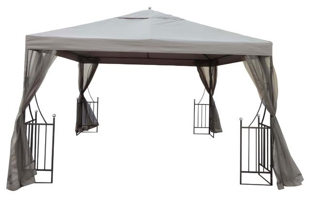 ... Outdoor Steel Gazebo Canopy w/ Beige Net Drapery contemporary-gazebos