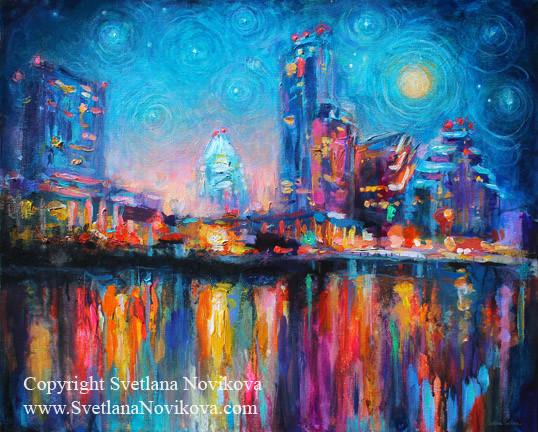 Austin City Skyline Cityscape Painting At Night 2