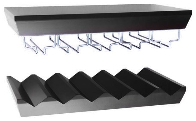 wall mounted bottle wine rack shelves with glass holder. Black Bedroom Furniture Sets. Home Design Ideas