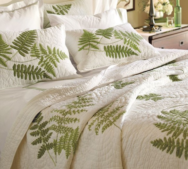 Fern embroidered organic quilt and sham contemporary quilts and