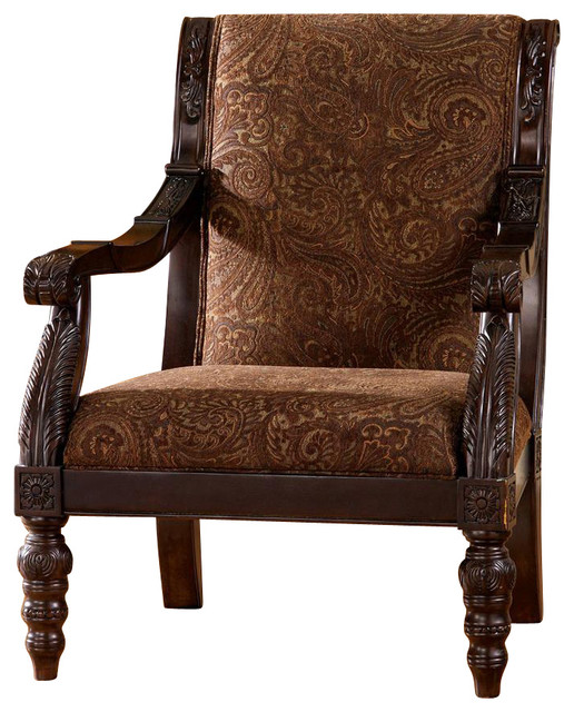 tapestry print accent chair w spindle legs traditional living room chairs. Black Bedroom Furniture Sets. Home Design Ideas