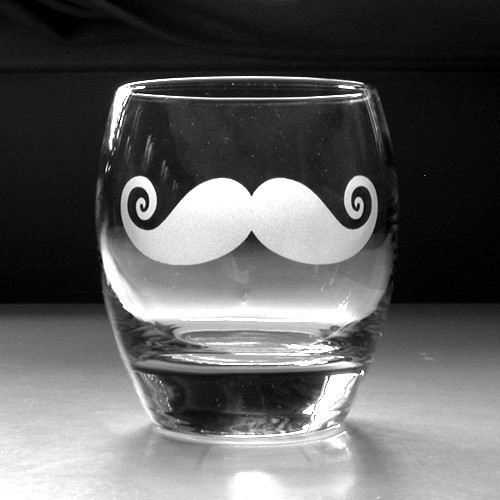 Mustache Rocks Glass by BreadandBadger on Etsy eclectic-everyday-glasses