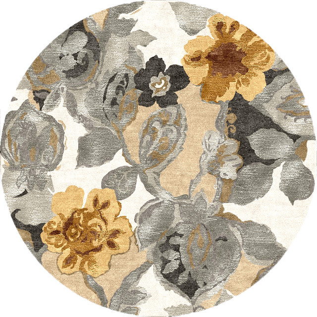 Transitional Floral Pattern Gray /Black Wool/Silk Tufted Rug - BL65, 8'RD transitional-area-rugs
