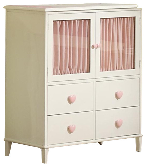 Coaster Juliette 4 Drawer Chest with Doors in White Finish transitional-kids-dressers-and-armoires