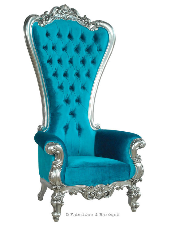 """Fabulous and Baroque's Absolom Roche Chair - Turquoise - Feast your eyes upon the decadence and true luxury of Fabulous & Baroque's ultimate collection of furniture! The Absolom Roche chair, exclusive to Fabulous & Baroque, is the first in a collection of fine furniture which sets the bar beyond imagination. This sumptuous chair is nothing short of regal as it holds court no matter where you decide to feature it. Measuring 72"""" in height, the Absolom Roche commands its presence and appreciation for its true beauty. Handcrafted from mahogany and finished in silver leaf, upholstered and tufted in turquoise velvet."""