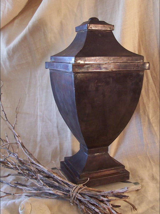 Lidded Tin Urn - A Lidded Tin Urn Patinaed with a Dark Bronze Finish.  Wonderful Decorative Metal Accessory with Refined Shape, but Robust and Rustic.