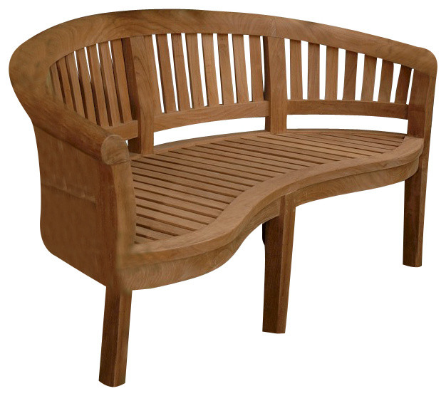Modern Outdoor Benches : Curve 3 Seater Bench Extra Thick Wood - Modern - Outdoor Benches - by ...