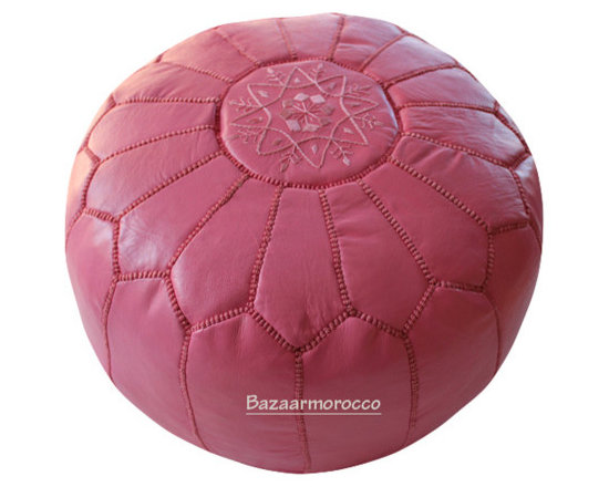 MOROCCAN LEATHER FOOTSTOOL OTTOMAN STYLE LARGE POUF, POUFFE PINK -
