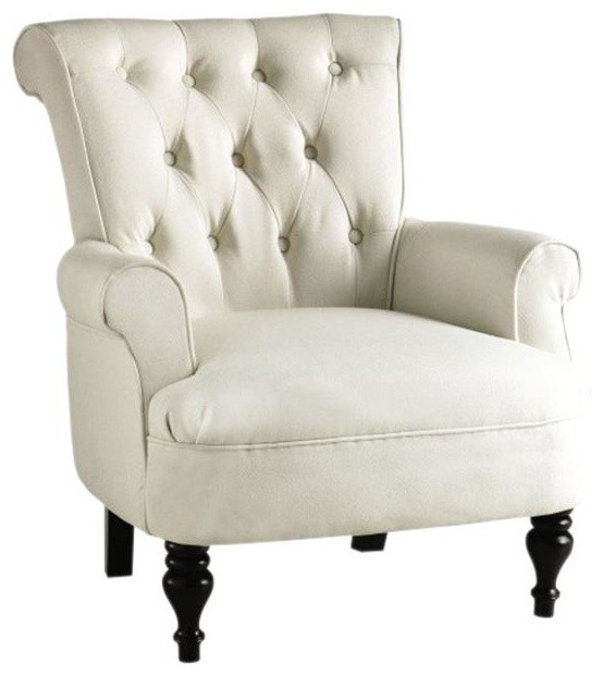 Morgan Tufted Armchair, Ivory contemporary-accent-chairs